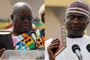 Nana Akufo-Addo and Dr. Bawumia being sworn in as President and vice-President, respectively