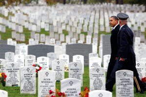 President Obama visited Section 60 of Arlington National Cemetery on Veterans Day in 2009. Section 60 is where many American soldiers killed in Afghanistan and Iraq are buried. Credit Luke Sharrett/The New York Time