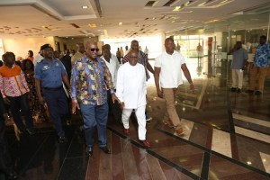 President Mahama conducts in-coming President Akufo-Addo around Flagstaff House