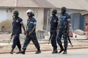 Ghana Police patrolling the streets