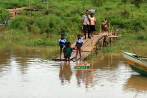 school children swim to school