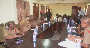 Fire service management members in a meeting