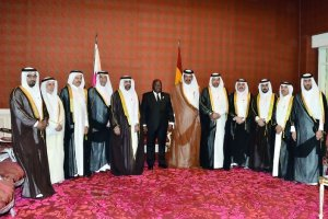 The President of the Republic of Ghana, Nana Akufo-Addo (centre), Qatar Chamber (QC) Vice-Chairman Mohamed bin Towar Al Kuwari (sixth right) and other prominent Qatari businessmen at the Qatar Chamber headquarters in Doha, yesterday.