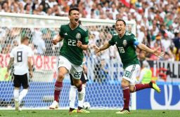 Hirving Lozano celebrates after scoring the only goal