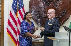 US Ambassador Robert Jackson and Charlotte Osei