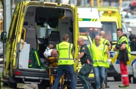 Victims of the shootings being put in an ambulance