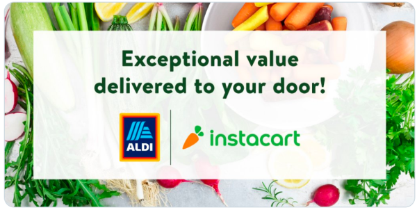 Advertisement for Aldi and Instacart.