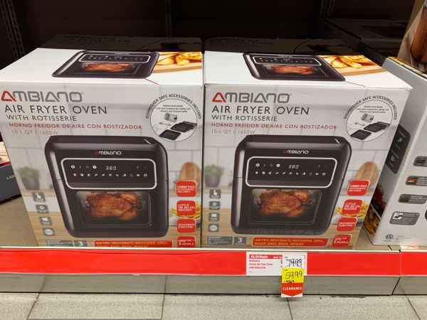 Air fryer ovens from Aldi on a shelf.
