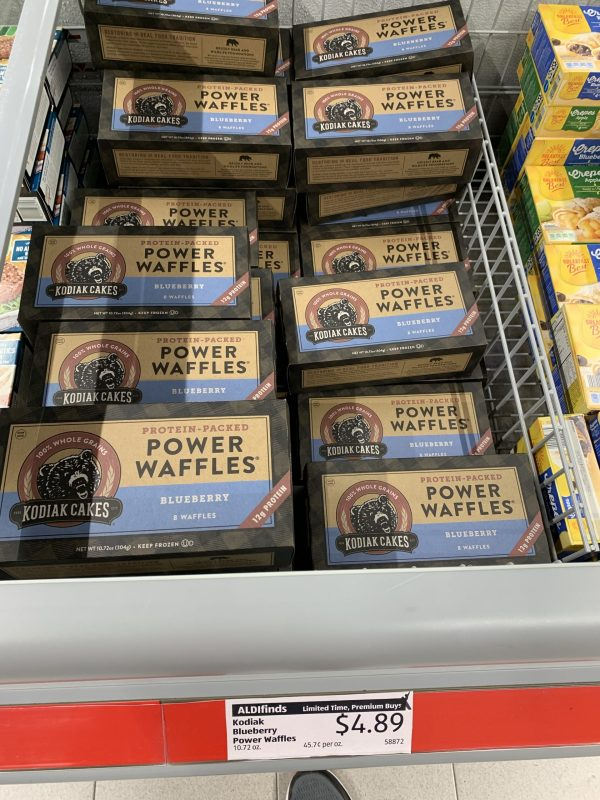 Power waffles from Aldi in a freezer case.