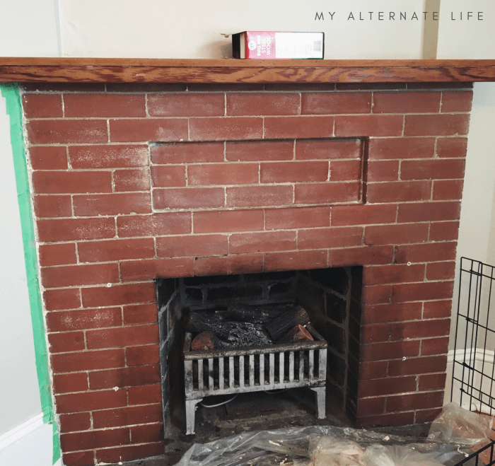 How to Strip Paint from Brick Fireplace - My Alternate Life