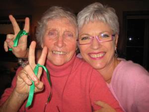 Mom & I wearing green ribbons in support of the Green Revolution in Iran (2009)