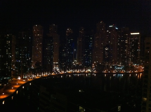 Dubai Marina nightscape from my flat, October 2011