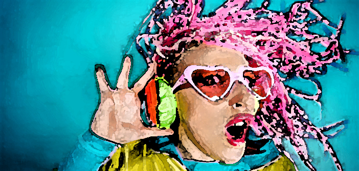 41846058 - crazy expressive trendy dj girl in bright clothes, headphones and bright dreadlocks. disco, party. bright fashion.