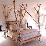 Baum Haus Interior Dekoration Birke Schlafzimmer Bett Holz Hell