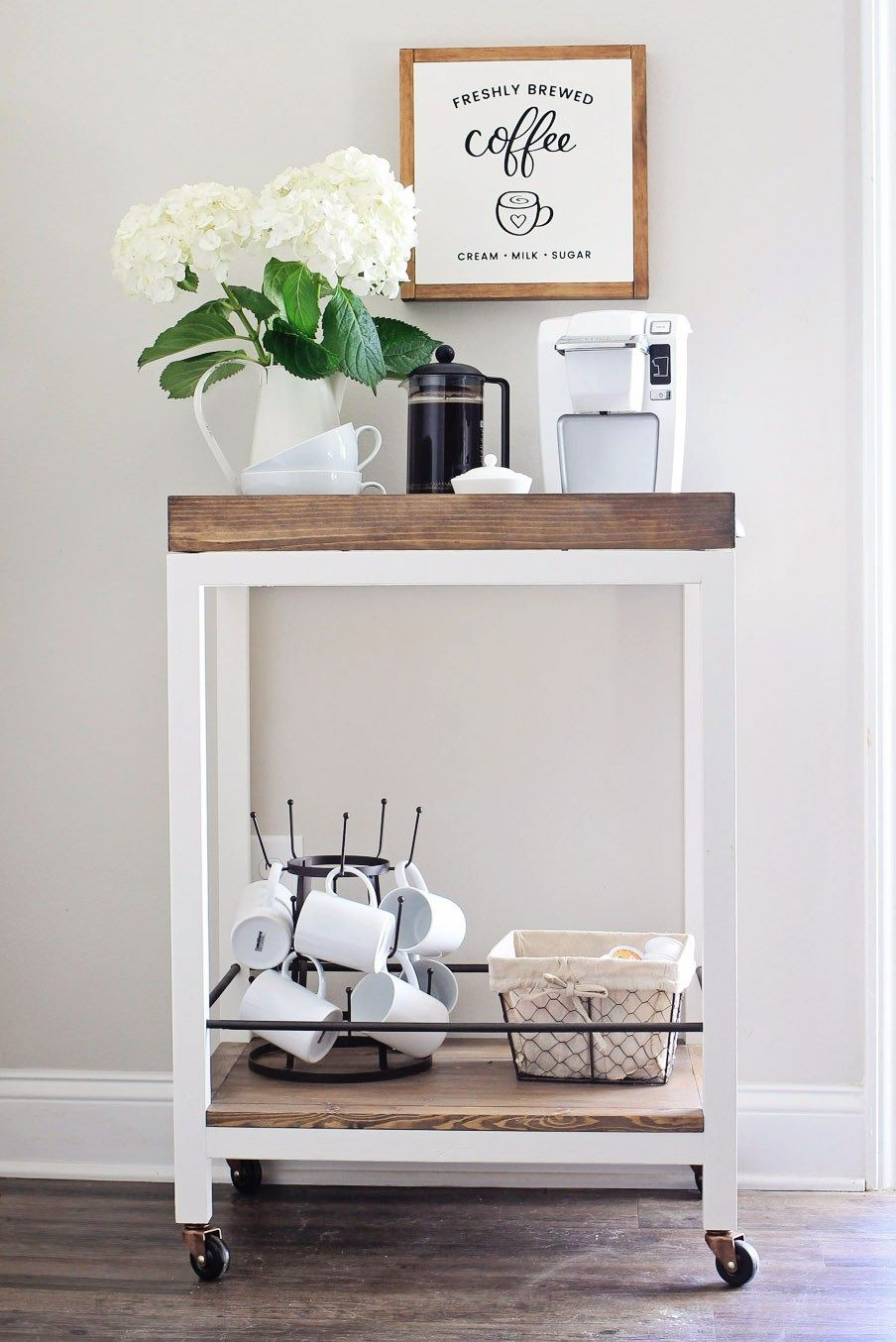 DIY Coffee Bar Made With Carts For Wishing A Warm Welcome