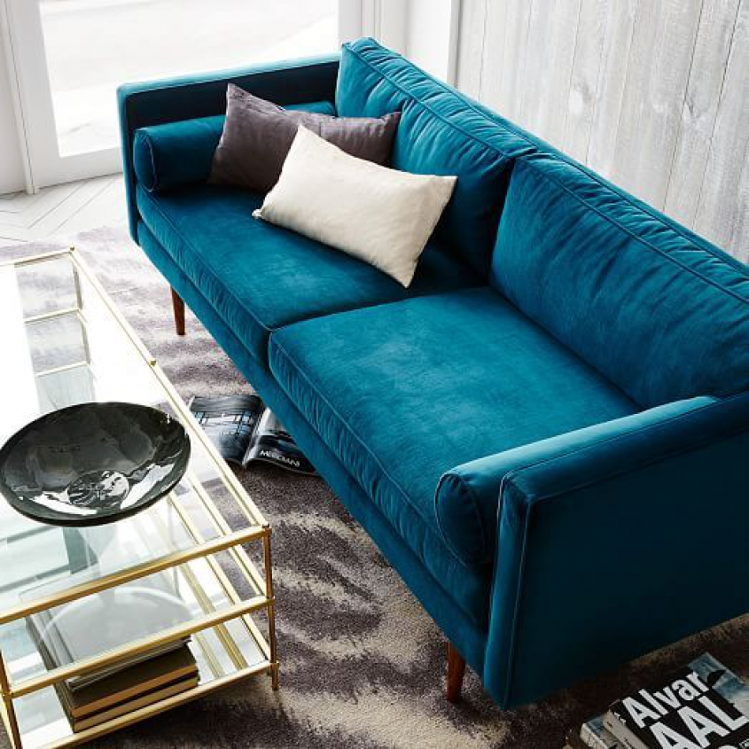 blue velvet sofa living room ideas handy convert a couch sleeper 2 for creating royal
