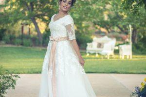 Bride Brittney Ann in custom-made wedding Dress