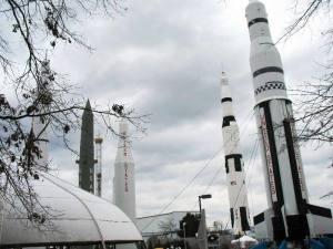 Rockets, including the Saturn 1 rocket, in Rocket Park at the US Space and Rocket Center in Huntsville, Alabama