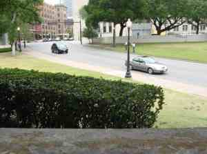 View from the grassy knoll at the Kennedy assassination site in Dallas.
