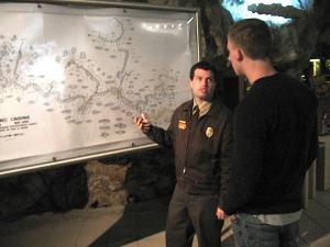 Tour guide at Meramec Caverns.