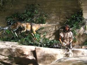 Caveboy and dinosaur at The Creation Museum