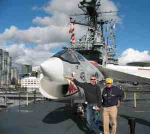 F-8 Crusader on the deck of the USS MIdway in San Diego