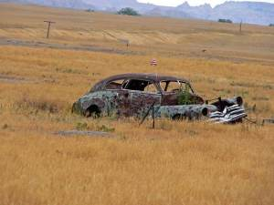 Rusting car at Pine Ridge Indian Reservation