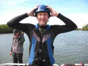 Malcolm Logan dons his helmet in preparation for Flyboarding