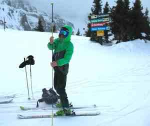 Jaimé Palmer demonstrates an avalanche probe at Telluride Ski Resort