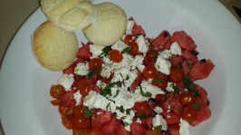 Watermelon, Tomato & Feta Salad with American Flaky Biscuits