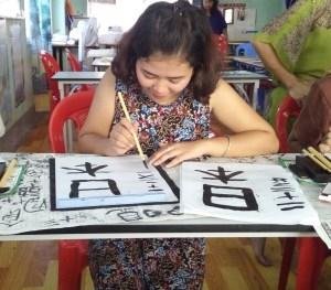 ミャンマー技能実習生 習字の練習
