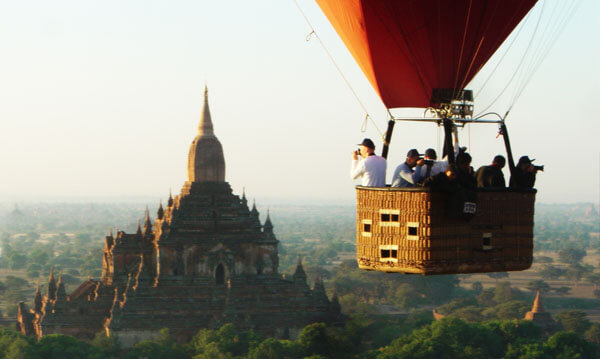 hot balloons over bagan people