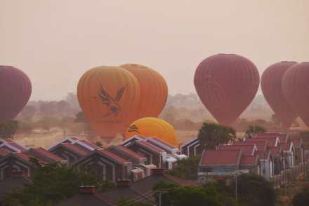 Landing Balloons Over Bagan