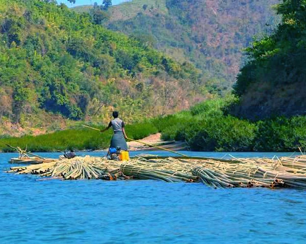 transportating Bamboo by the river in Chin State