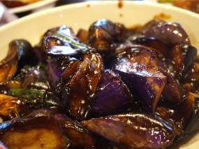 Grand Szechuan: Eggplant with Sweet Bean Sauce. I don't actually eat eggplant myself (it being the devil's tumour) but both dishes were liked by those who do.