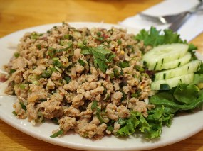 Larb. With pork. This was decent--a bit too heavy on the lime.