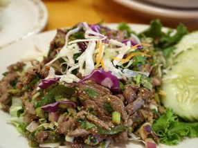 Nam Tok: The dressing was not bad but the beef seemed almost like it had gotten steamed while it was being grilled/seared. Maybe it's a variation but it didn't do it for us.