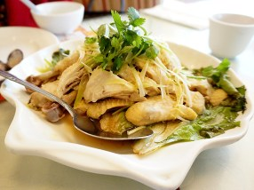 Steamed chicken with scallions, ginger etc. Mild and tasty. Another big hit with the boys.
