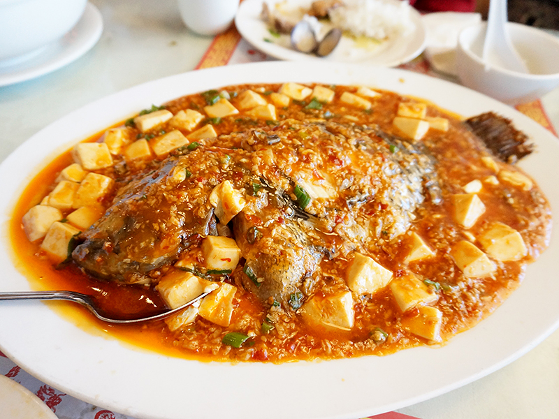 This was the other standout. A whole bass in a mildly spicy brown sauce. We got it with added tofu and a very good idea that was. The fish was cooked perfectly and the sauce, sweet, smoky and mildly spicy was great both with the mild meat of the fish and clinging to the soft tofu.