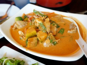 As was this pumpkin curry with pork. We also got some chicken satay for the boys, which they seemed to enjoy.