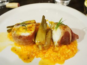 """roasted ham wrapped monkfish, pimentón and fennel risotto"""