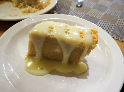 "Described on the menu as ""Traditional Semolina Cake with Caramel Topping, but I think that was more like condensed milk on top. Pleasant enough."