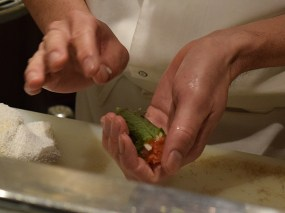 Chef Yoshi preparing the cod roe handroll.
