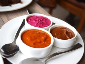 Beetroot, tamarind and tomato chutneys. All very good.