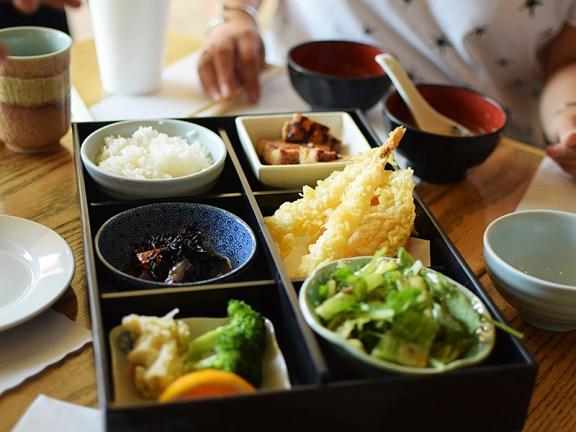 Hirozen: Chicken Teriyaki with Shrimp Tempura