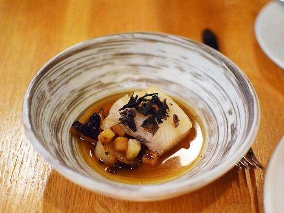 Piccolo: Black cod with kohlrabi dashi, nori, and charred cippolini onions