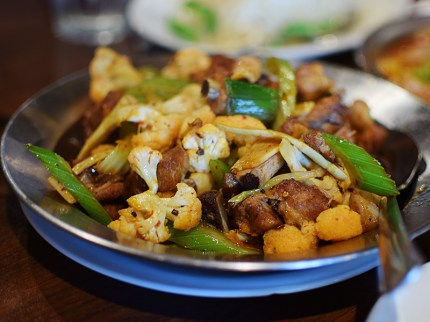 Another that made it to the printed menu this year, this prep of chicken with cauliflower is really very good---another dish that deploys cumin rather than dried chillies.