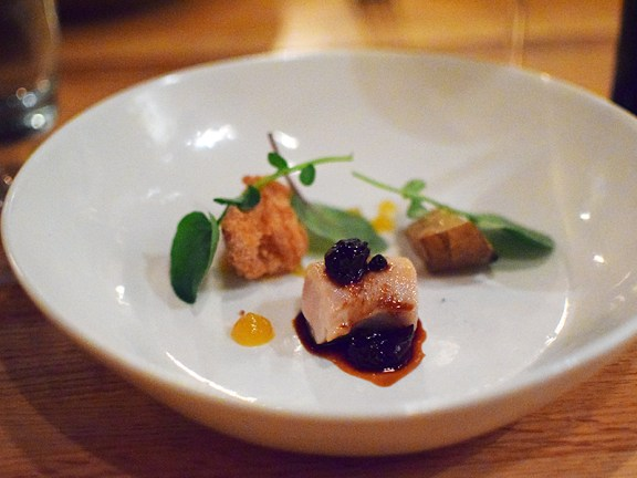 "Piccolo: Rabbit ""tasting"" with sunchokes, fennel puree, and amarene cherries"