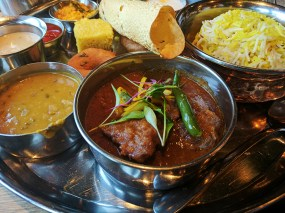 One of the curries in a vaguely south Indian style. Quite nice anyway.