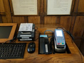 The effect only slightly marred by the keyboard and payment terminal below.